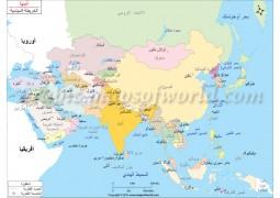 Asia Political Map In Arabic - Digital File