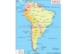 South America Political Map In Arabic - Digital File