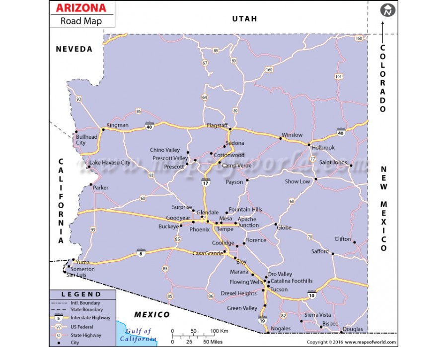 Buy Arizona Road Map
