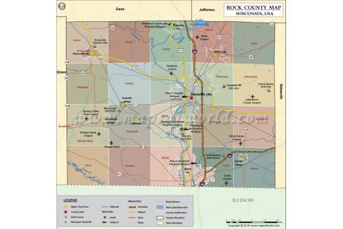 Rock County Map, Wisconsin