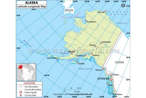 Buy Alaska Latitude Longitude Map - Alaska county map