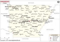 Arkansas Map with Cities - Digital File