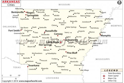 Arkansas Map with Cities