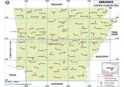 Arkansas Latitude Longitude Map - Digital File