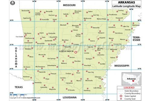 Arkansas Latitude Longitude Map