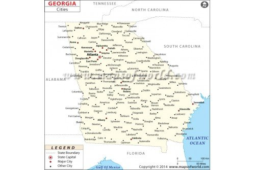 Buy Georgia Map With Cities - Georgia cities map