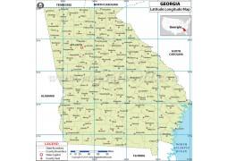 Georgia Latitude Longitude Map with Counties - Digital File