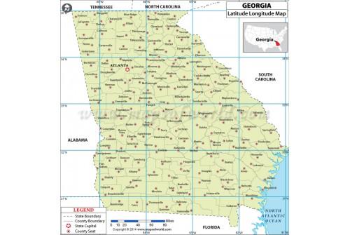 Georgia Latitude Longitude Map with Counties