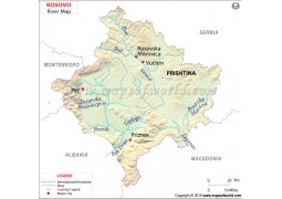 Kosovo River Map - Digital File