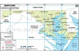 Maryland Latitude Longitude Map - Digital File
