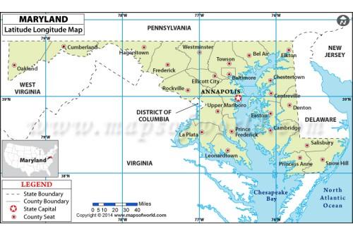 Maryland Latitude Longitude Map