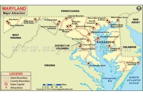 Maryland Major Attraction Map