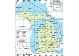 Michigan Latitude Longitude Map - Digital File