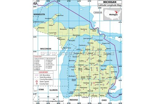 Michigan Latitude Longitude Map