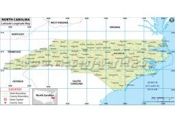 North Carolina Latitude Longitude Map - Digital File