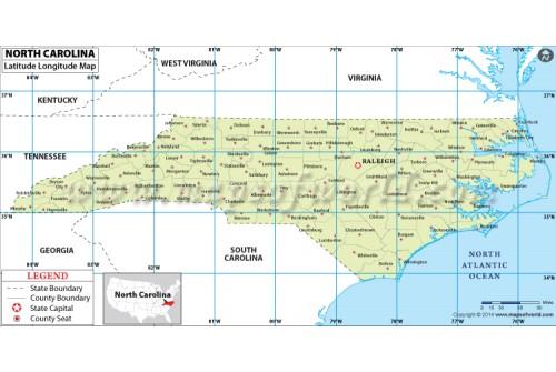 North Carolina Latitude Longitude Map