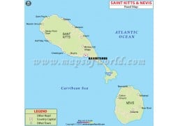 Saint Kitts And Nevis Road Map - Digital File