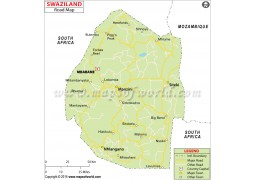 Swaziland Road Map - Digital File