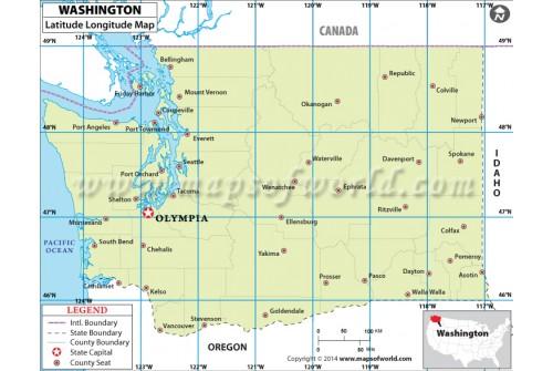 Washington Latitude Longitude Map