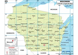 Wisconsin Latitude Longitude Map - Digital File