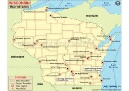 Wisconsin Major Attraction Map - Digital File
