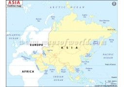 Asia Continent Outline Map - Digital File