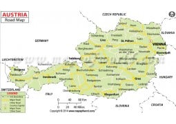 Buy Austria Physical Map With Cities In Gray Background - Road map of austria