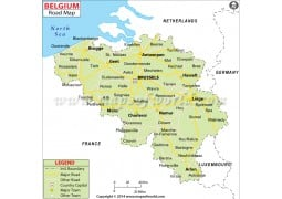Belgium Road Map - Digital File
