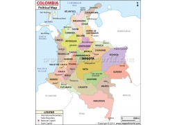 Colombia Political Map  - Digital File