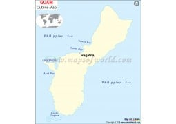 Guam Outline Map - Digital File