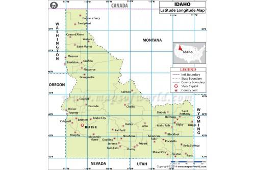Idaho Latitude Longitude Map