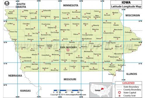 Iowa Latitude Longitude map