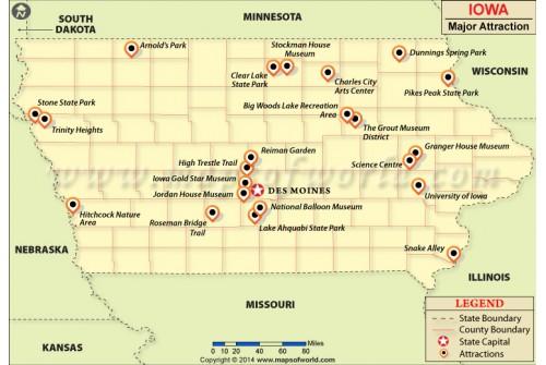 Iowa Major Attraction Map
