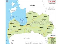 Latvia Road Map - Digital File