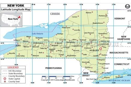 New York Laude Longitude Map