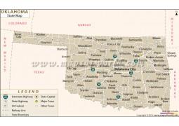 Oklahoma State Map  - Digital File