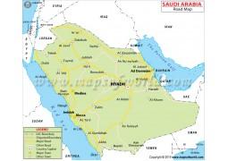 Saudi Arabia Road Map - Digital File