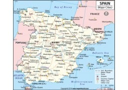 Map of Spain with Major Cities - Digital File