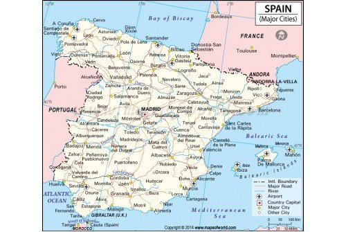 Buy Spain Cities Map Online - Major cities map of portugal