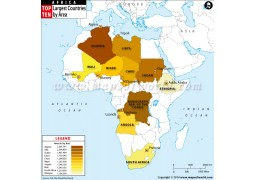 Top Ten Largest African Countries by Area Map  - Digital File