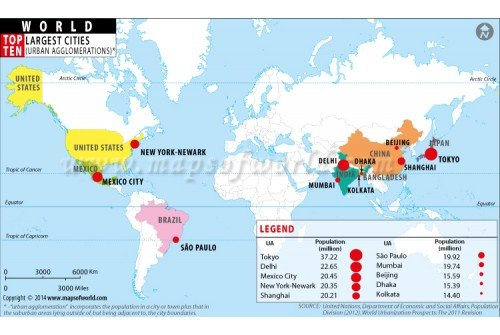 Buy Top Ten Populated Cities Of World Highlighted On Map With - Us map with big cities
