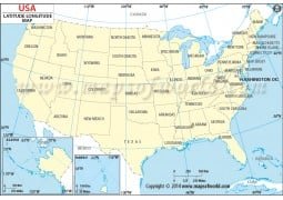 US Map with Latitude and Longitude