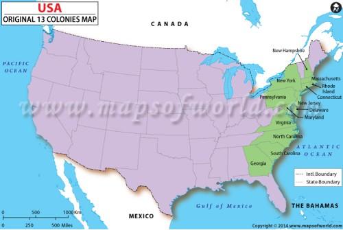 US Original 13 Colonies Map