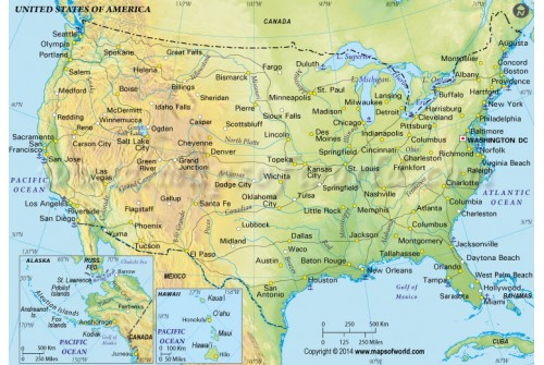 US Physical Map in Green Color