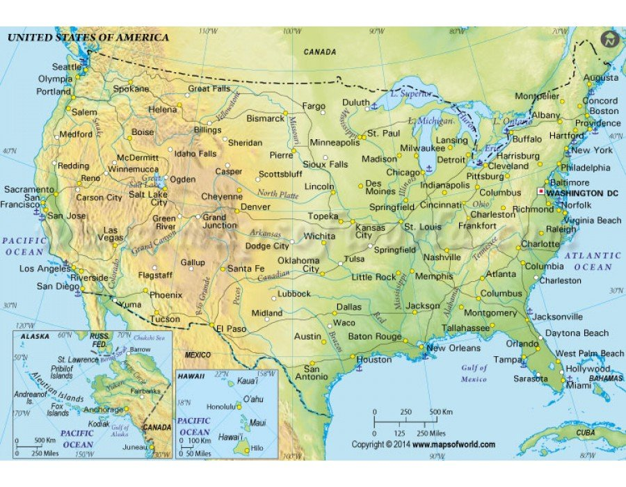 Buy US Physical Map in Green Color
