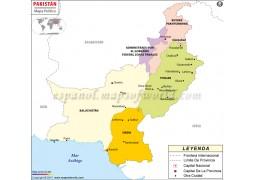 Pakistan Map in Spanish Language