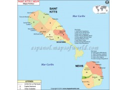 Saint Kitts And Nevis Map - Digital File