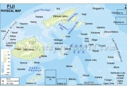 Fiji Islands Physical Map  - Digital File