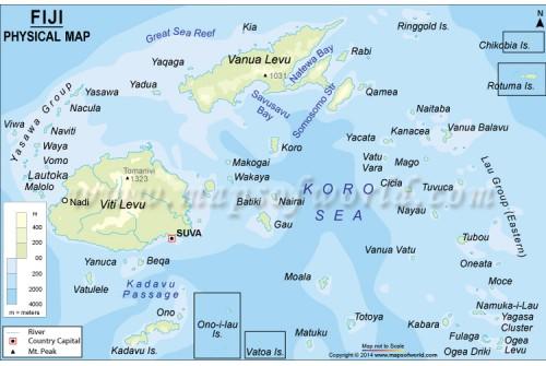 Buy Fiji Islands Physical Map - Fiji islands map