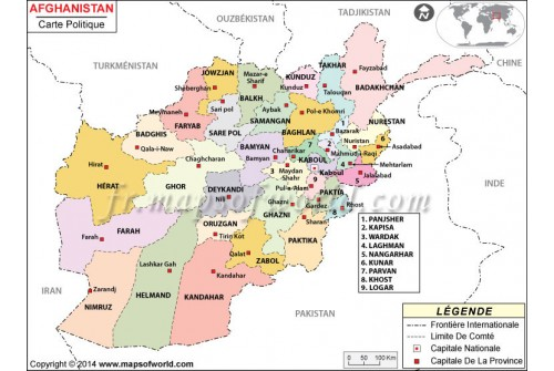 Afghanistan Map in French